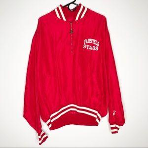 Starter vintage varsity jacket red Fairfield Stags